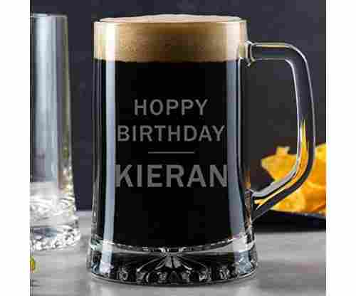 "Personalized Pint Glass Tankard – ""Hoppy"" Birthday"