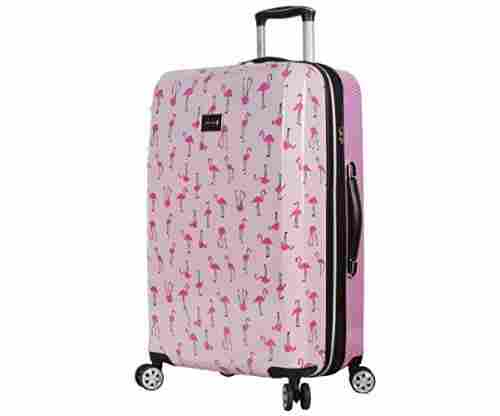 BETSEY JOHNSON Flamingo Strut Hardside Checked Spinner Luggage