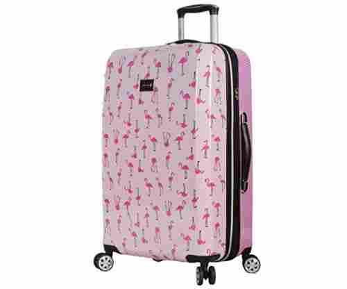 BETSEY JOHNSON Flamingo Strut Hardside Checked Spinner Luggage