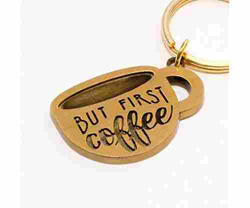"""But First Coffee"" Keychain"