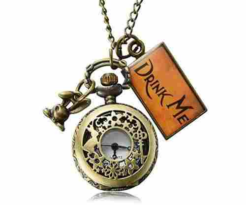 Vintage Drink Me Pocket Watch Necklace