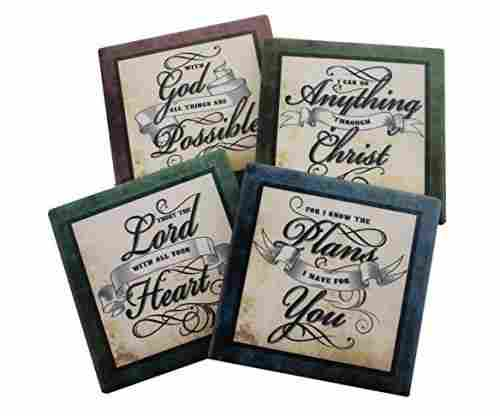 Inspirational Scriptures Coaster Set of 4 | Encouraging Verses