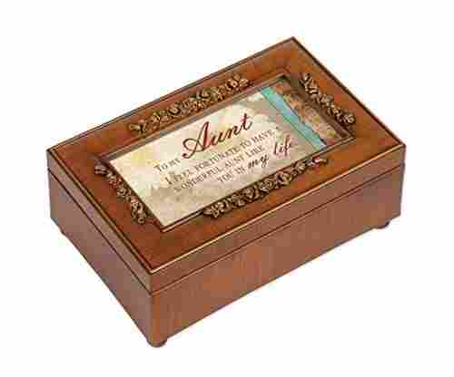 Aunt Rich Walnut Music Box – Plays Wonderful World