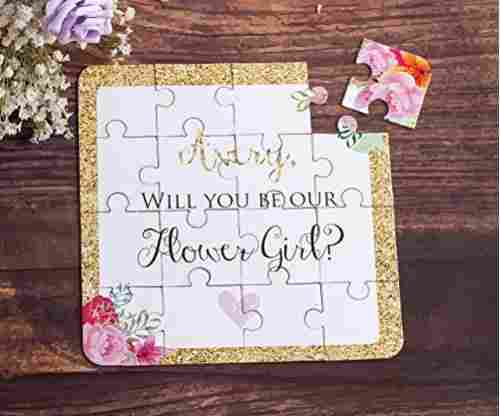 Flower Girl Gift Puzzle Invitation