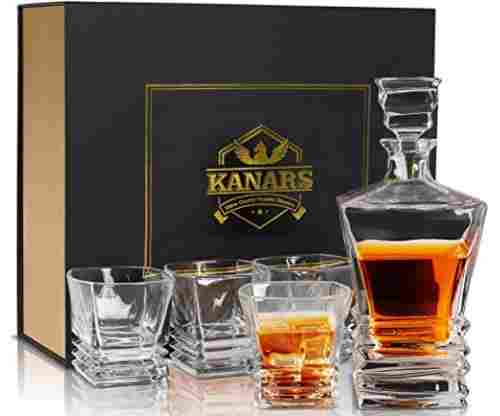 KANARS Crystal Whiskey Decanter And Glass Set With Luxury Gift Box