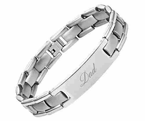 DAD Titanium Bracelet Engraved Best Dad Ever