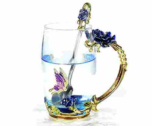 Unique Rose Flower Glass Coffee or Tea Mug