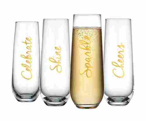 Elegant Home Gold Script Flutes Wine Glasses (Set of 4)