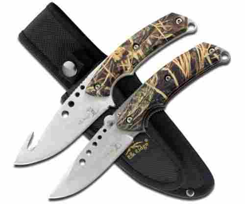 Elk Ridge ER054CA 85 Inch Fixed and 5 Inch Folder Hunting Knife Set