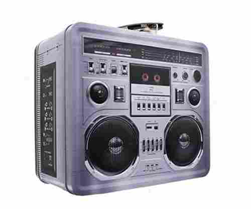 Retro Boombox Radio Lunchbox Tin Tote