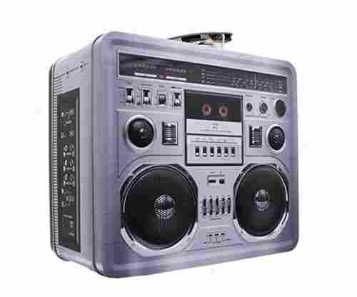 Retro Boombox Radio Lunchbox Tin Tote