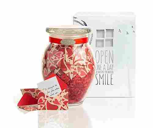 KindNotes Glass Keepsake Gift Jar with Long Distance Message