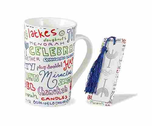 Zion Judaica Chanukah Mug and Bookmark Gift Set