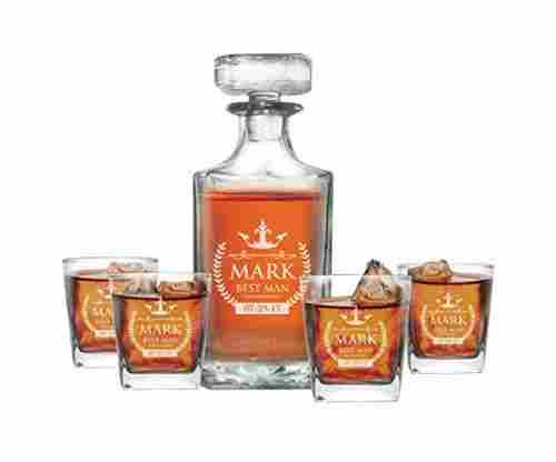 Whiskey Decanter Set and 4 Glasses Gifts Set – Personalized and Monogrammed for Free