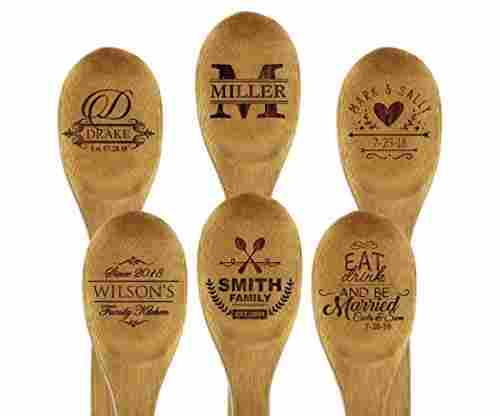 Custom Engraved and Personalized Bamboo Wood Kitchen Spoon