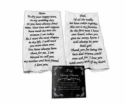Embroidered Wedding Handkerchief Set for Parents of the Bride