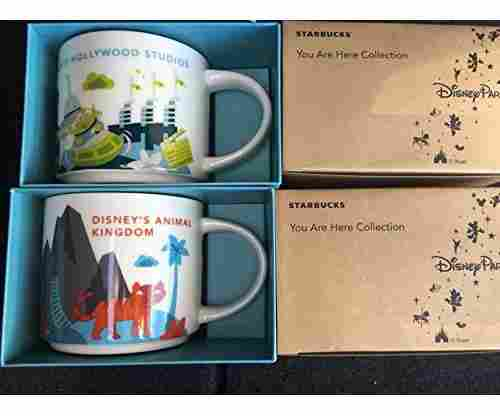 Disney Animal Kingdom+ Hollywood Studios Starbucks Mugs W/Bonus Blank Starbucks Gift Card