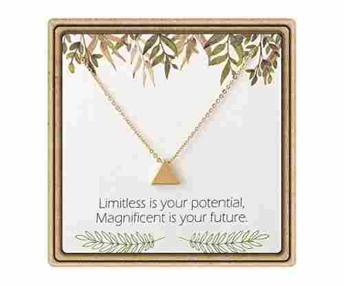 IEFLIFE Graduation Tiny Triangle Charm Necklace on Message Card