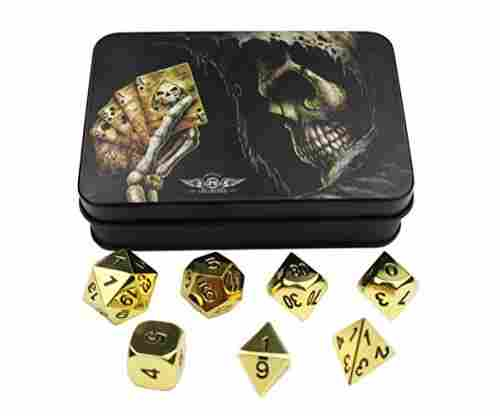 Gold Solid Metal Polyhedral Dice for Dungeons and Dragons and other RPGs