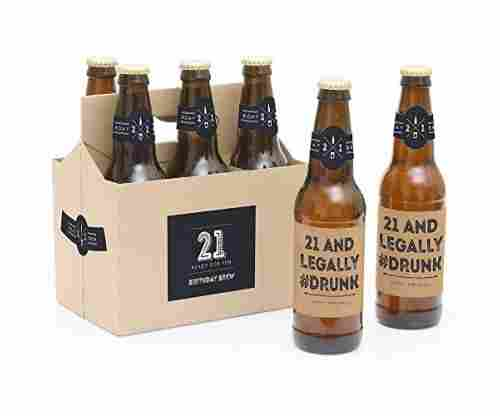 Finally 21 – 6 Beer Bottle Labels and 1 Carrier