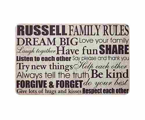 Family Rules Doormat – Personalized