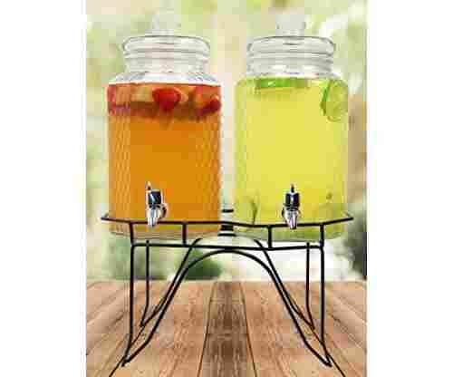 Hammered Glass Double Beverage Drink Dispenser on Stand