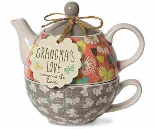 Pavilion Gift Company 74071 Bloom Grandma's Love Ceramic Tea