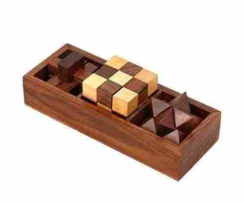 3-in-One Wooden Puzzle Games Set And Brain Teaser