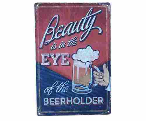 Beer Drinking Funny Vintage Tin Sign