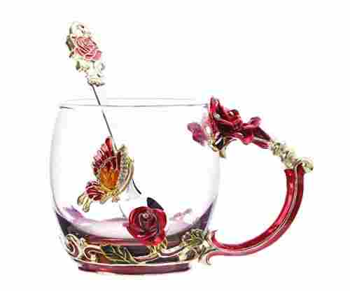 Clear Glass & Spoon Handmade Cup – Butterfly Rose