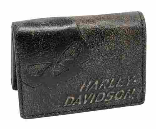 Harley-Davidson Men's Burnished Tri-Fold Skull Wallet