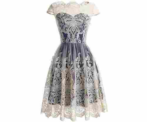 Homecoming Floral Embroidered Lace Cocktail Dress with Cap-Sleeves