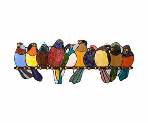 River of Goods Bird Suncatcher Stained Glass Birds on a Wire