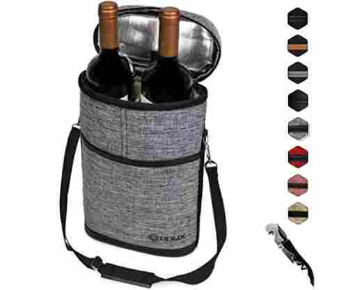 Premium Insulated 2 Bottle Wine Carrier Tote Bag
