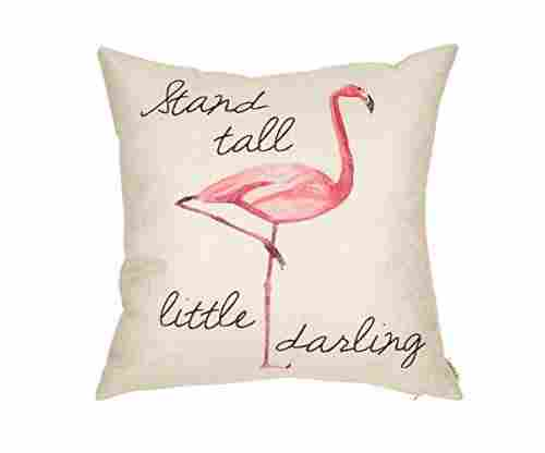 Fjfz 'Stand Tall Little Darling Flamingo' Throw Pillow Case