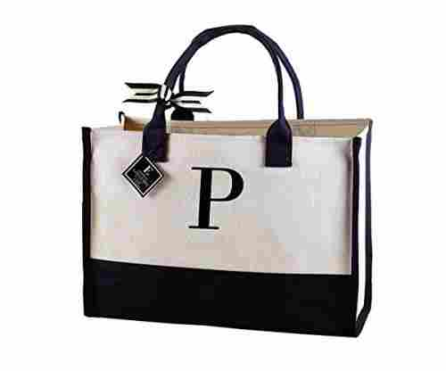 Mud Pie 501115 P-Initial Canvas Tote