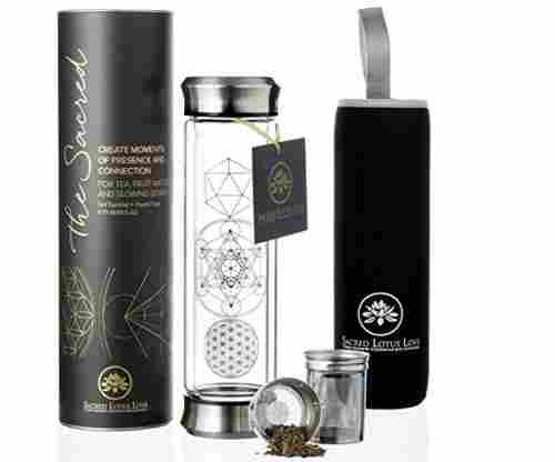 The Sacred Glass Tea Tumbler with Infuser + Strainer