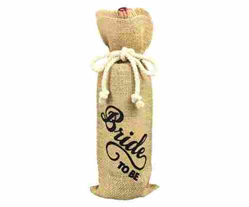 Bride-Themed Wine Bottle Burlap Cover