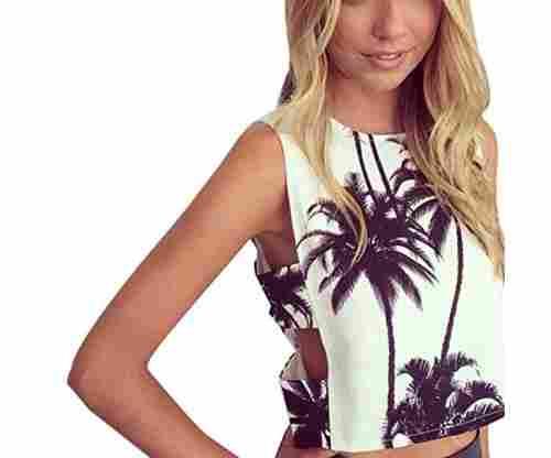 Etosell Women Coconut Tree Print Top Vest