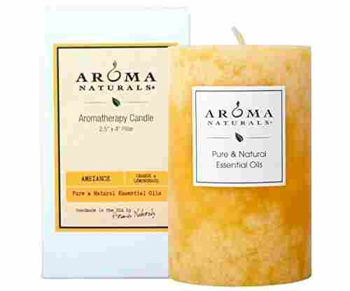 Aroma Naturals Orange and Lemongrass Scented Pillar Candle
