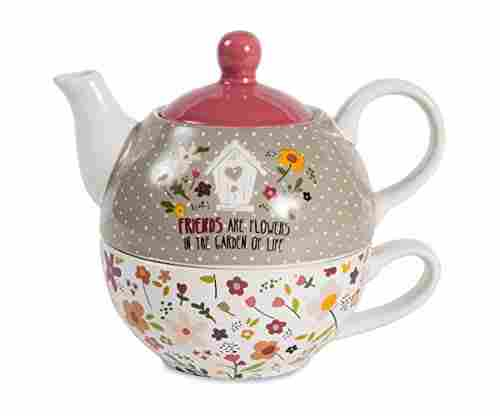 Pavilion Gift Company Friends Are Flowers Teapot and Cup Set