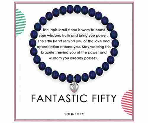 Solinfor 50th Bday Lapis Lazuli Beaded Bracelet