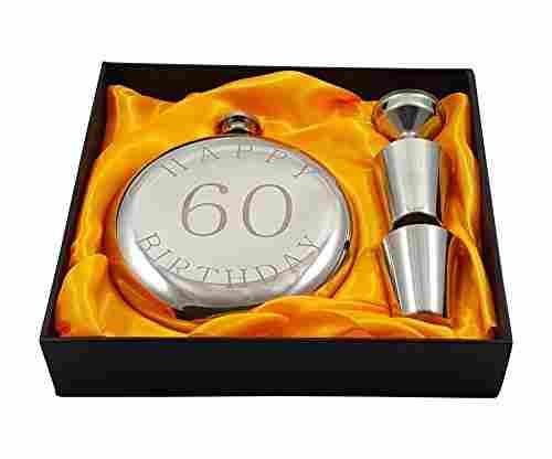 Happy 60th Bday Flask Gift Set