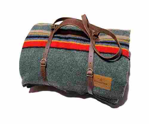 Pendleton Twin Camp Blanket with Carrier – Green Heather