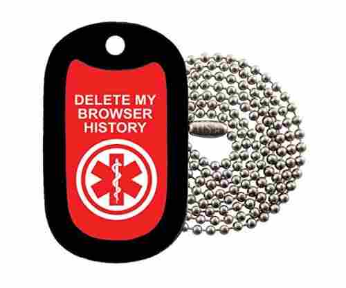 DELETE MY BROWSER HISTORY Dog Tag Necklace