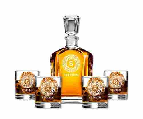 Monogrammed Whiskey Set