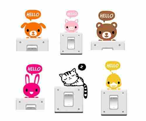 Buytra 6 Pieces Cute Animals Stickers For Kids