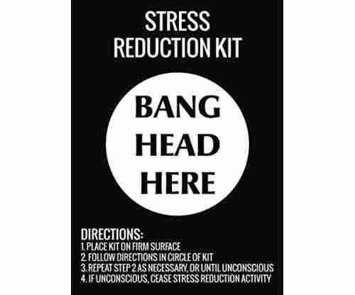 Stress Reduction Kit Bang Head Here Wall Hanging