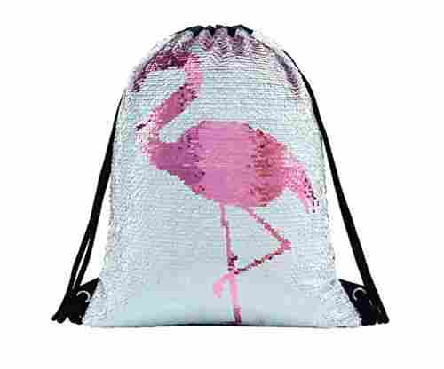 Flamingo Sequin Drawstring Backpack
