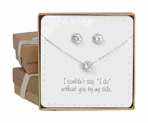 Pretty Halo Cubic Zirconia Necklace & Earrings